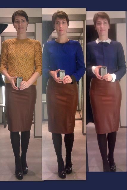 коричневая кожаная юбка с чем носить фото